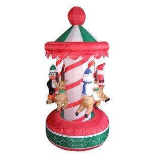 3c5152605c Inflatable Animated Christmas Carousel Yard Lighting Display