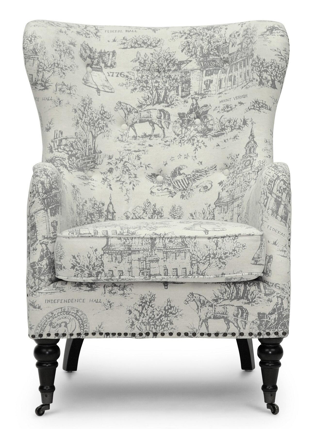 sc 1 st  Joss u0026 Main & Baxton Studio Livingston Linen Colonial Print Armchair | Joss u0026 Main
