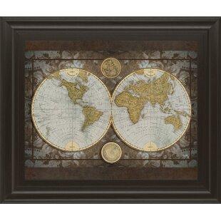 World map framed art youll love wayfair world map framed graphic art gumiabroncs Choice Image