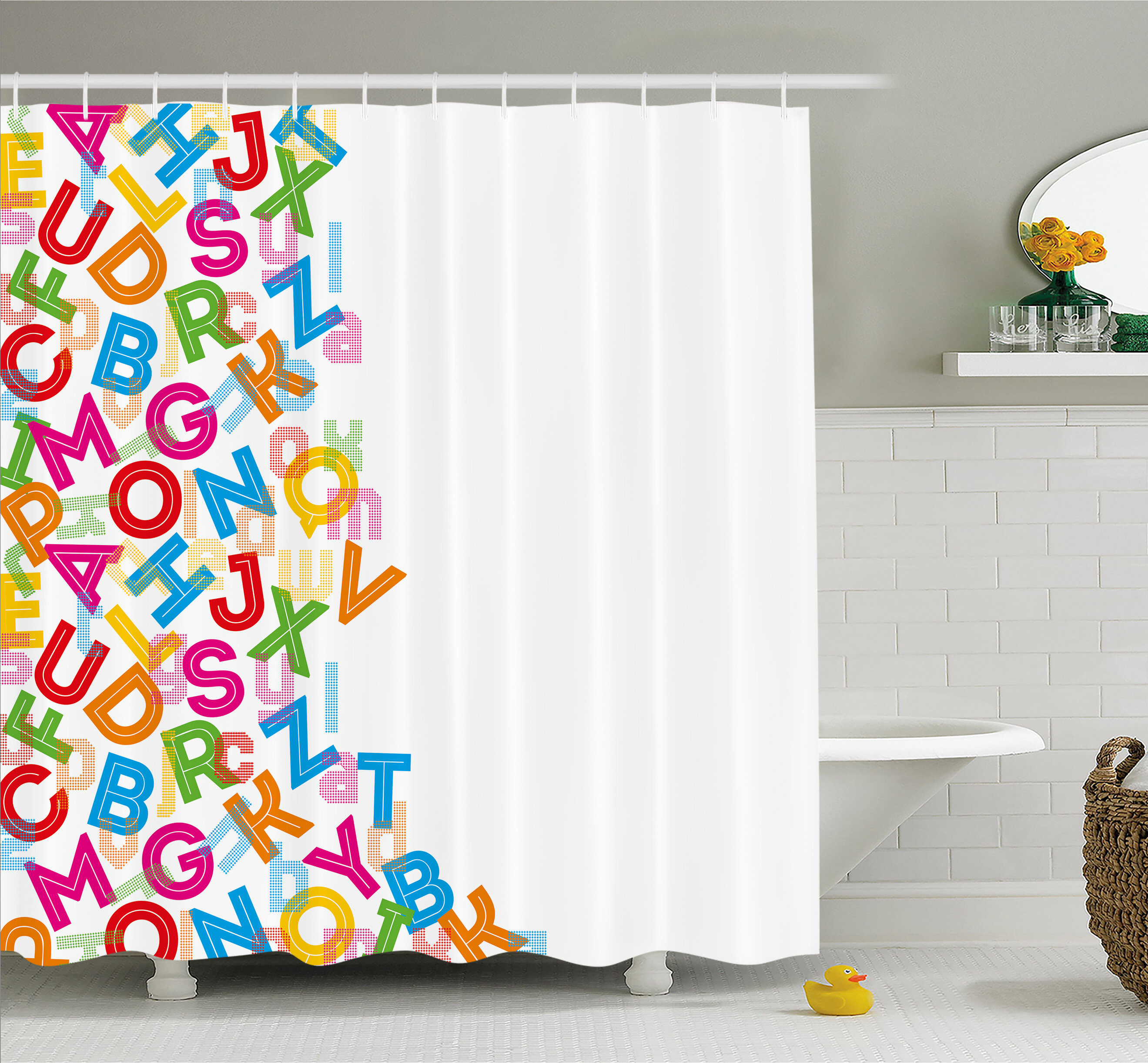Ambesonne Alphabet Background With Letter Icons Literature Textured Fun Print Shower Curtain Set