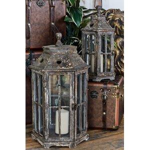 2 Piece Wood and Glass Lantern Set