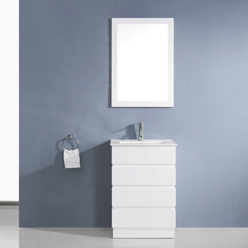 "24 Mirrored Bathroom Vanity virtu usa bruno 24"" single contemporary bathroom vanity set with"