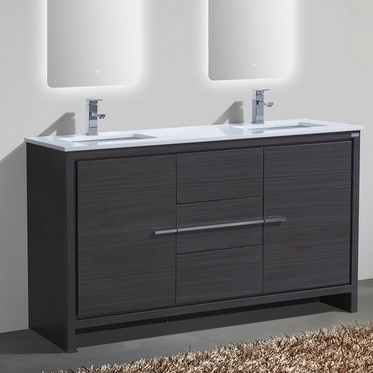 "mercury row bosley 60"" double sink modern bathroom vanity"