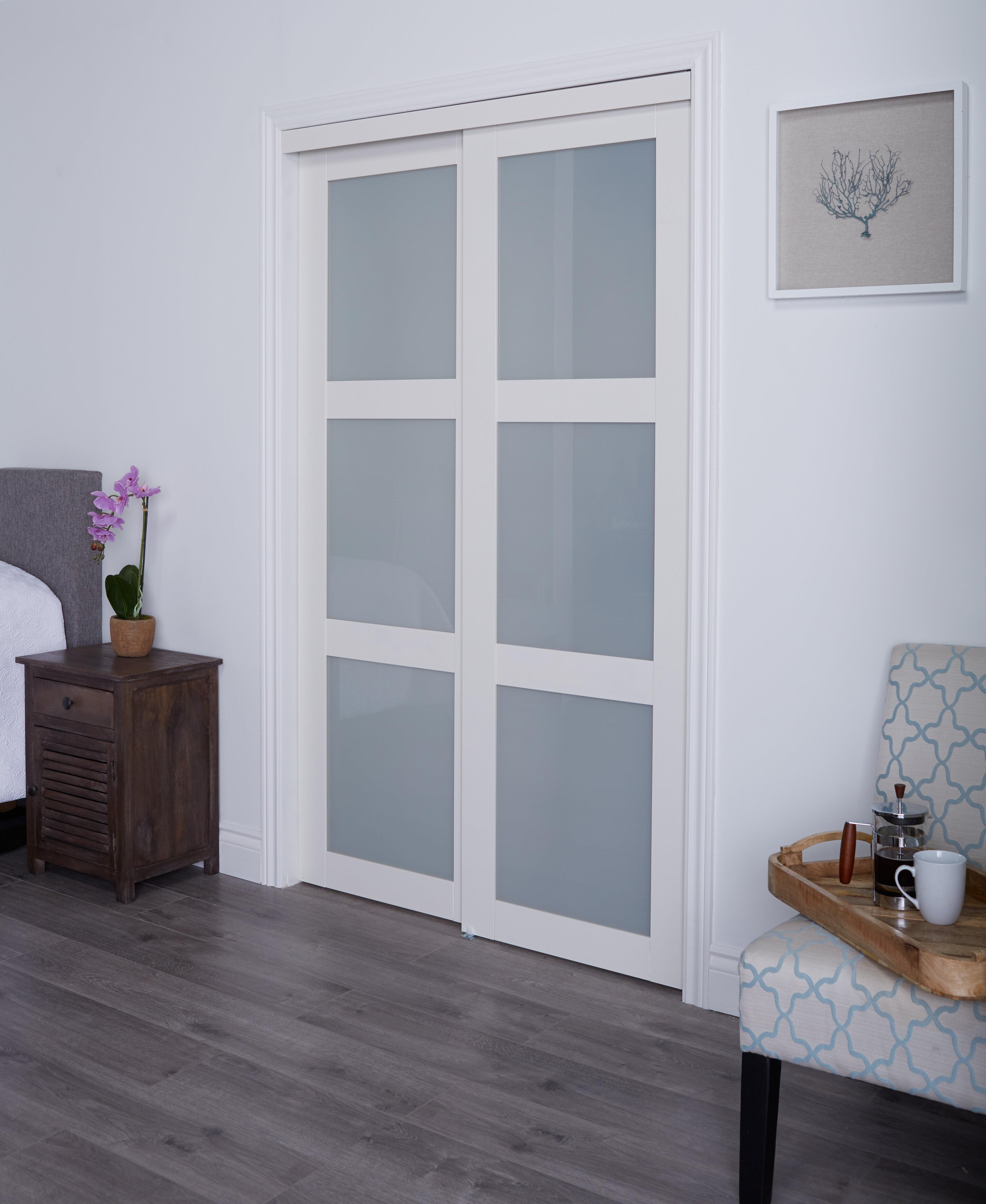 Erias Home Designs Baldarassario MDF 2 Panel Sliding Closet Door ...