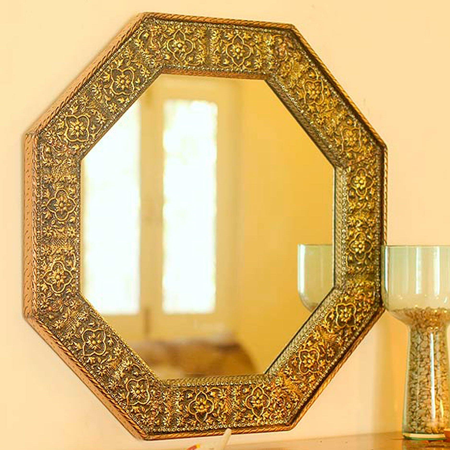Novica Floral Cloud Repoussé Handmade Wall Mirror | Wayfair