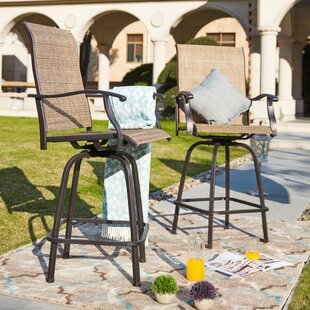 Harkey Sling Metal Swivel Patio Dining Chair Set Of 2