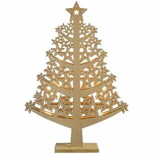 pre lit star wood christmas tree table decoration