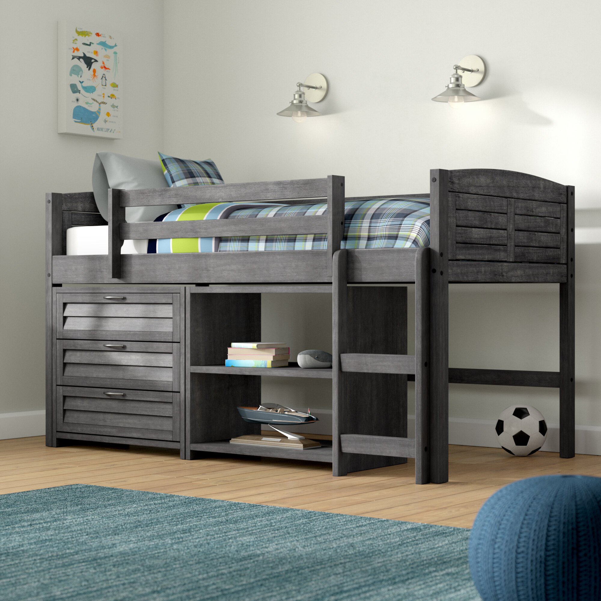 Harriet Bee Evan Twin Low Loft Bed With Storage U0026 Reviews | Wayfair