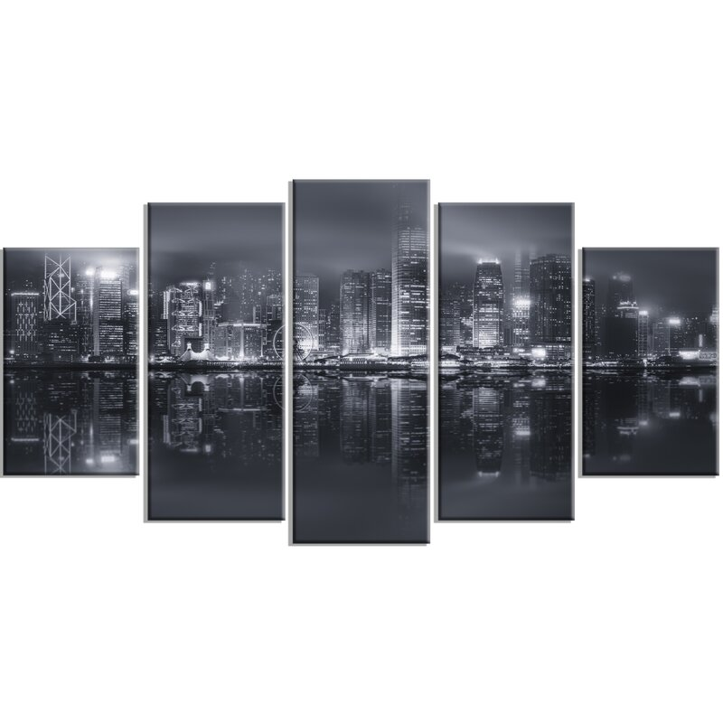 Hong kong black and white skyline 5 piece wall art on wrapped canvas set