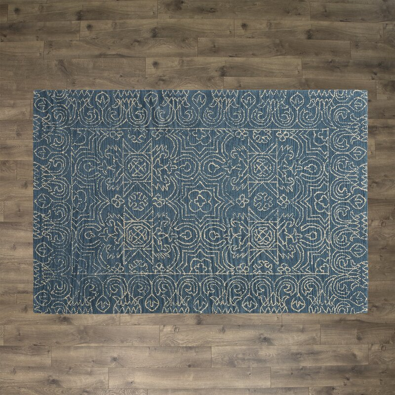 Omar Deep Blue Tufted Wool Area Rug