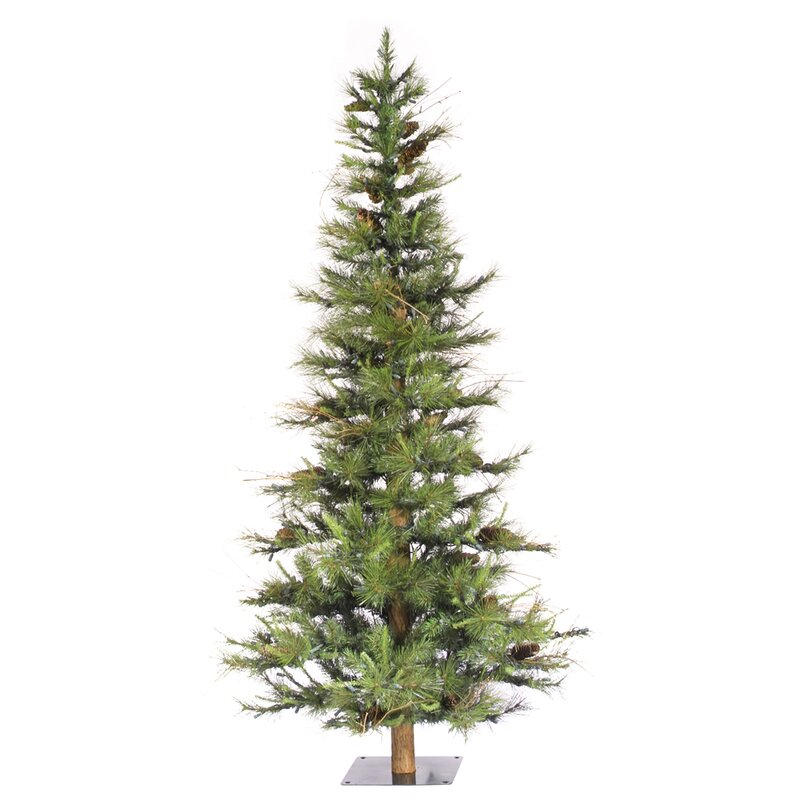 Vickerman Ashland Wood Trunk Tree with Tips An 6' Green Fir ...