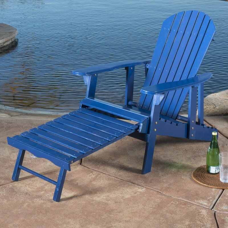 Kairi Solid Wood Adirondack Chair With Ottoman