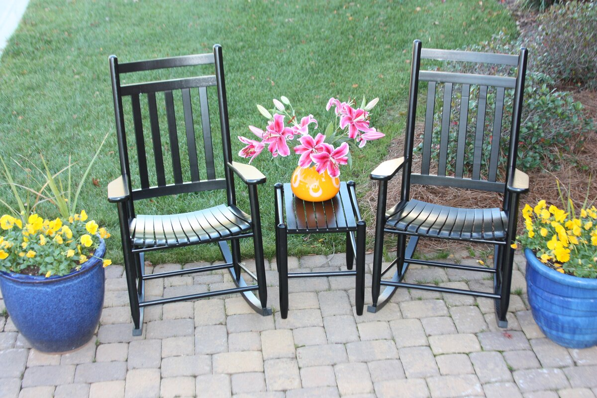 3 Piece Adult Slat Seat Porch Rocking Chair And Table Set