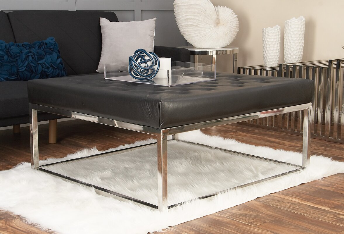 Stainless Steel And Leather Coffee Table