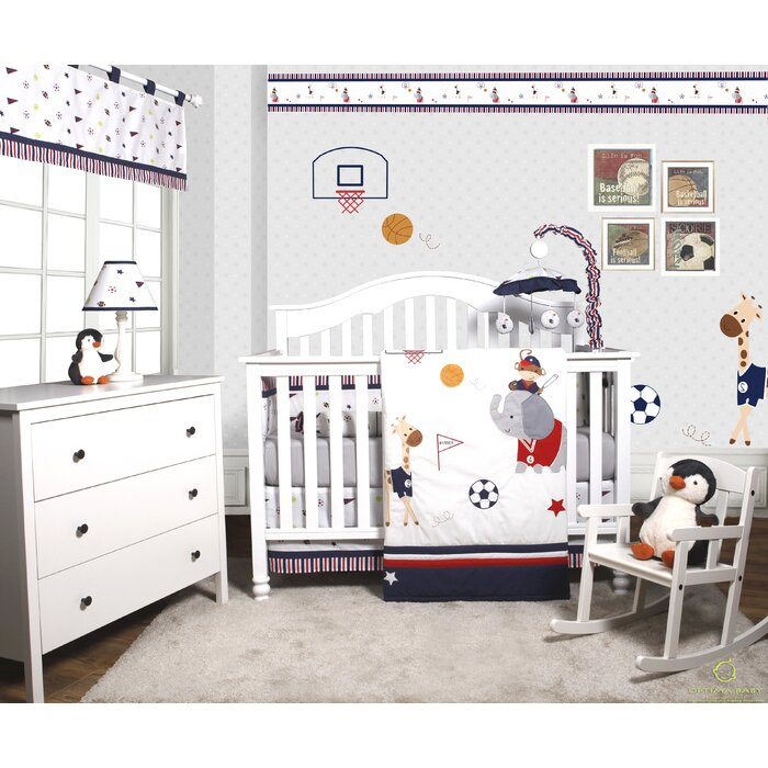 Porter Animal Sports Festival 6 Piece Baby Boy Nursery Crib Bedding Set