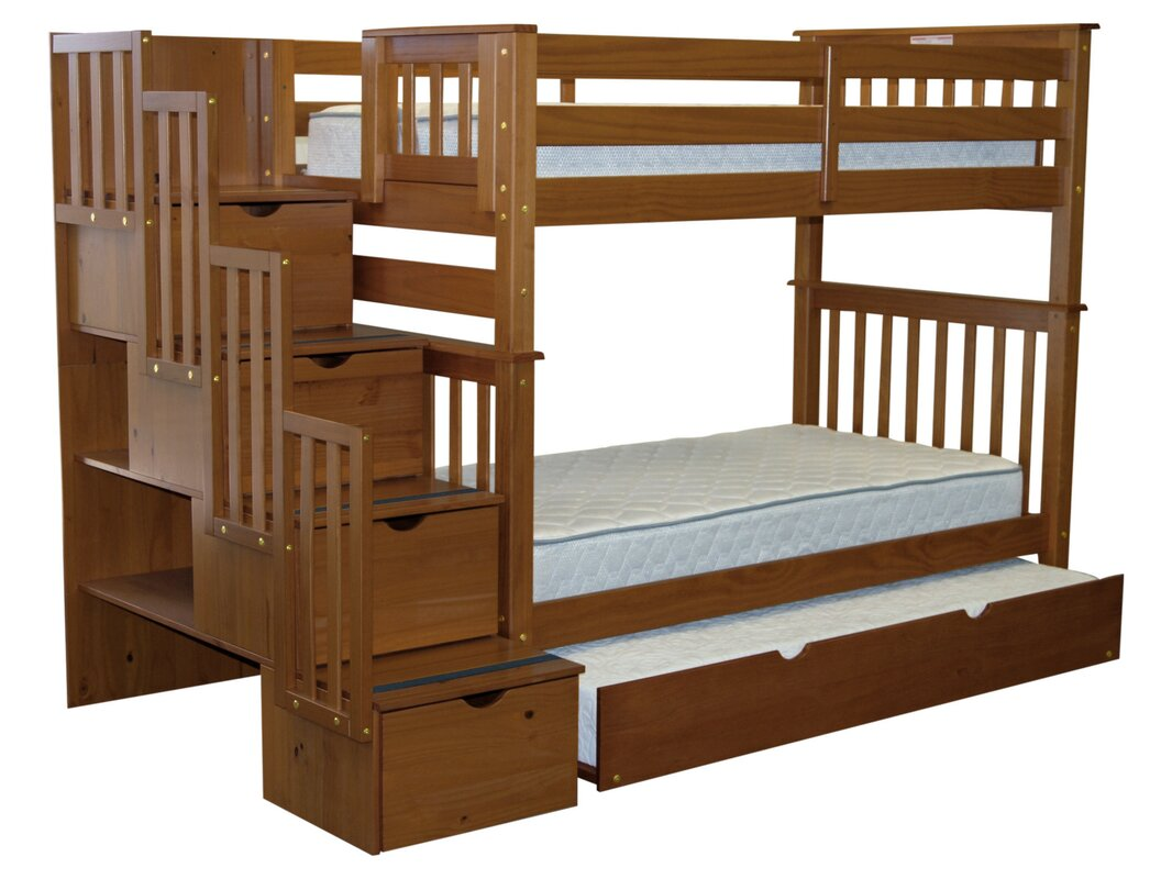 Stairway Tall Twin Over Bunk Bed With Trundle
