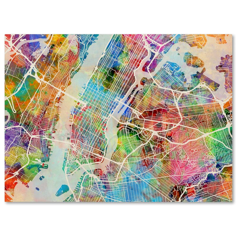new york city street map by michael tompsett graphic art on wrapped canvas