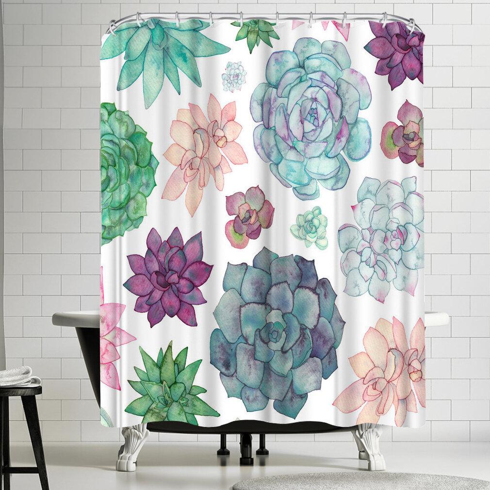 East Urban Home Elena Oneill Succulent Garden Shower Curtain
