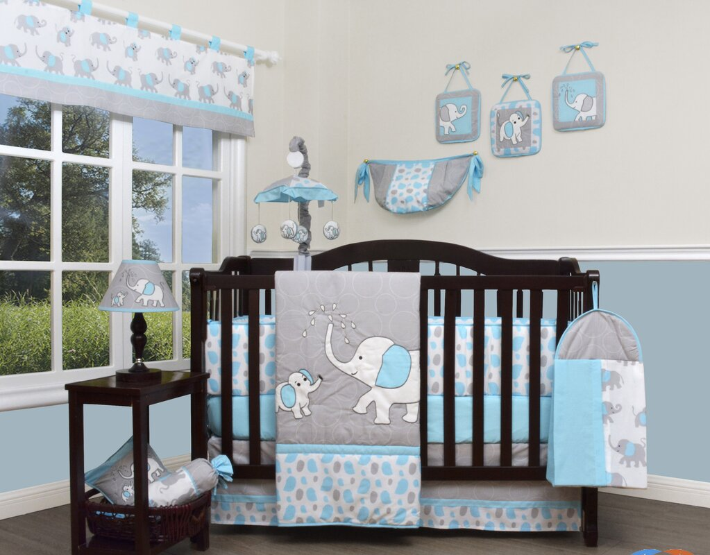 Geenny Blizzard Elephant 13 Piece Crib Bedding Set
