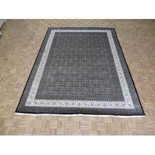 Guide to buy One-of-a-Kind Draco Fine Herati Tabriz Hand-Knotted 8'11 x 12' Wool/Silk Black/White Area Rug By Isabelline
