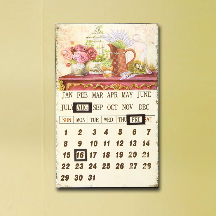 AdecoTrading Inspired Iron Wall Hanging Sign Calendar With Watering ...