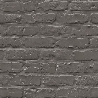 Turn on the Brights Halpin Faux Industrial Chic 32.97' x 20.8 Brick Wallpaper Roll Color: Black