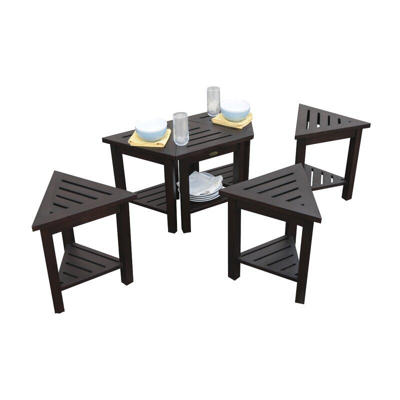 Decoteak FlexiCorner Triangle Shower Bench With Shelf Wayfair - Triangle picnic table
