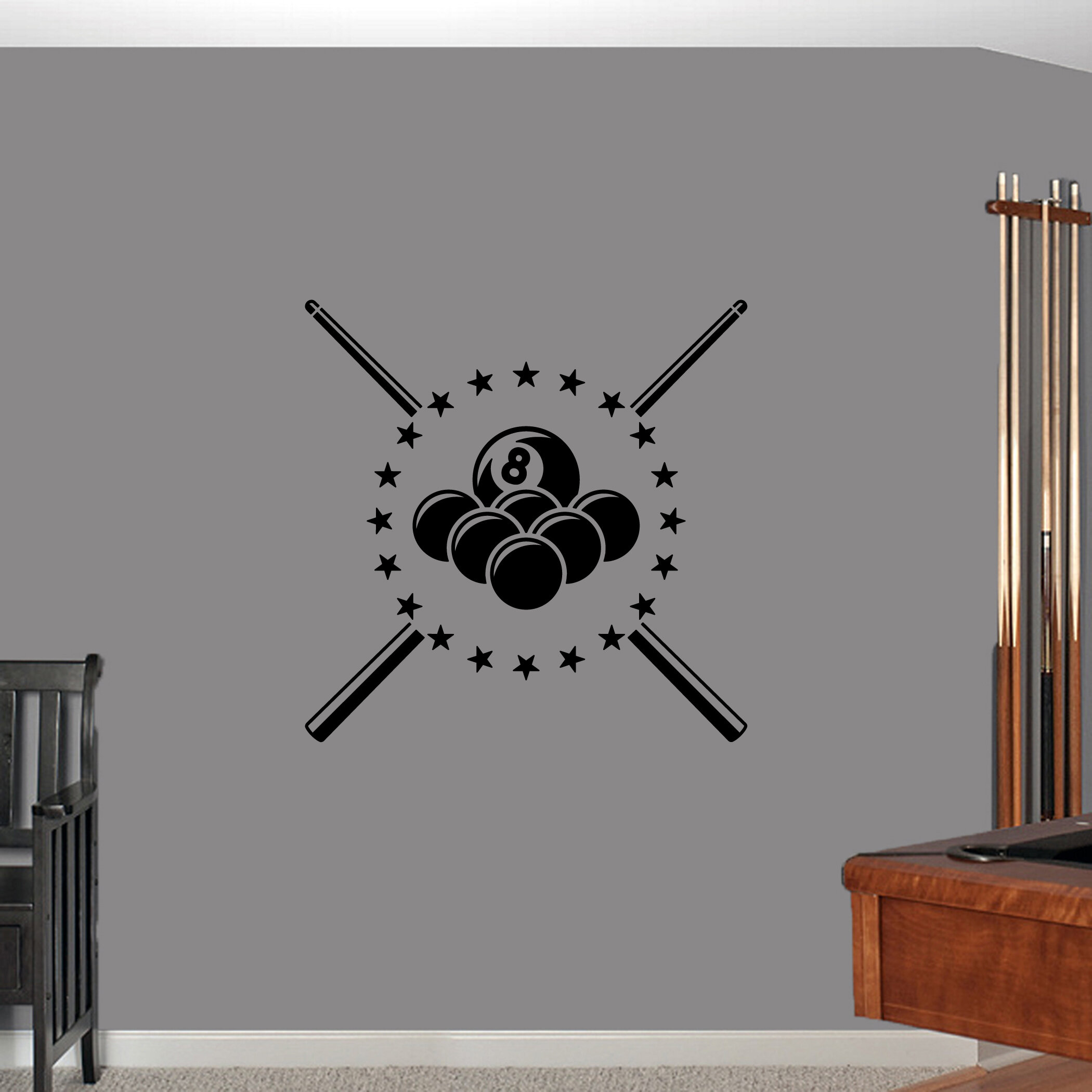 Ebern designs millan pool billiards stickers wall decal wayfair ca