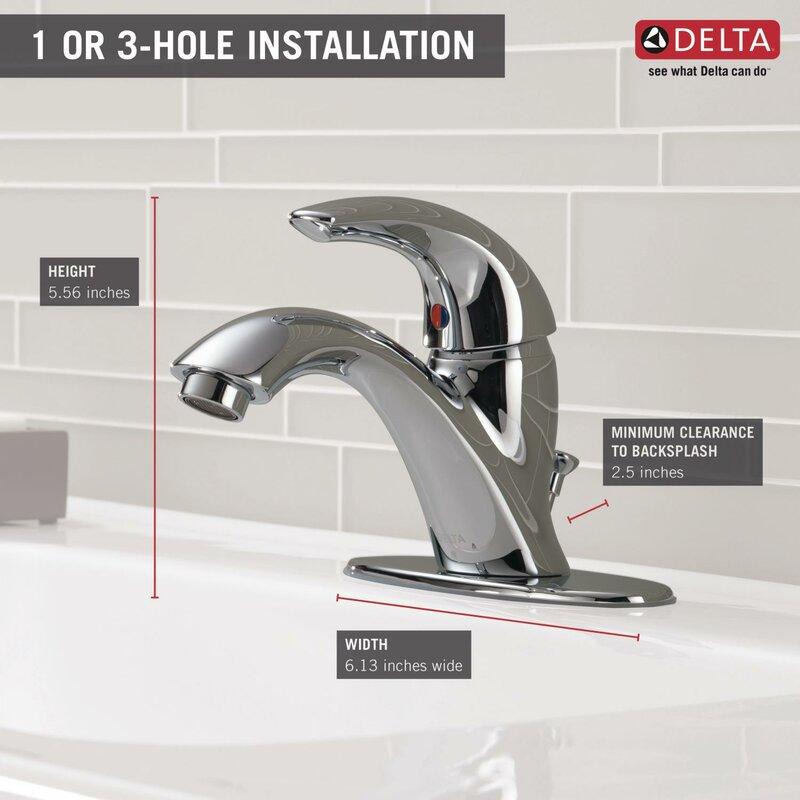 Delta C Spout Series Single Hole Bathroom Faucet with Single ...