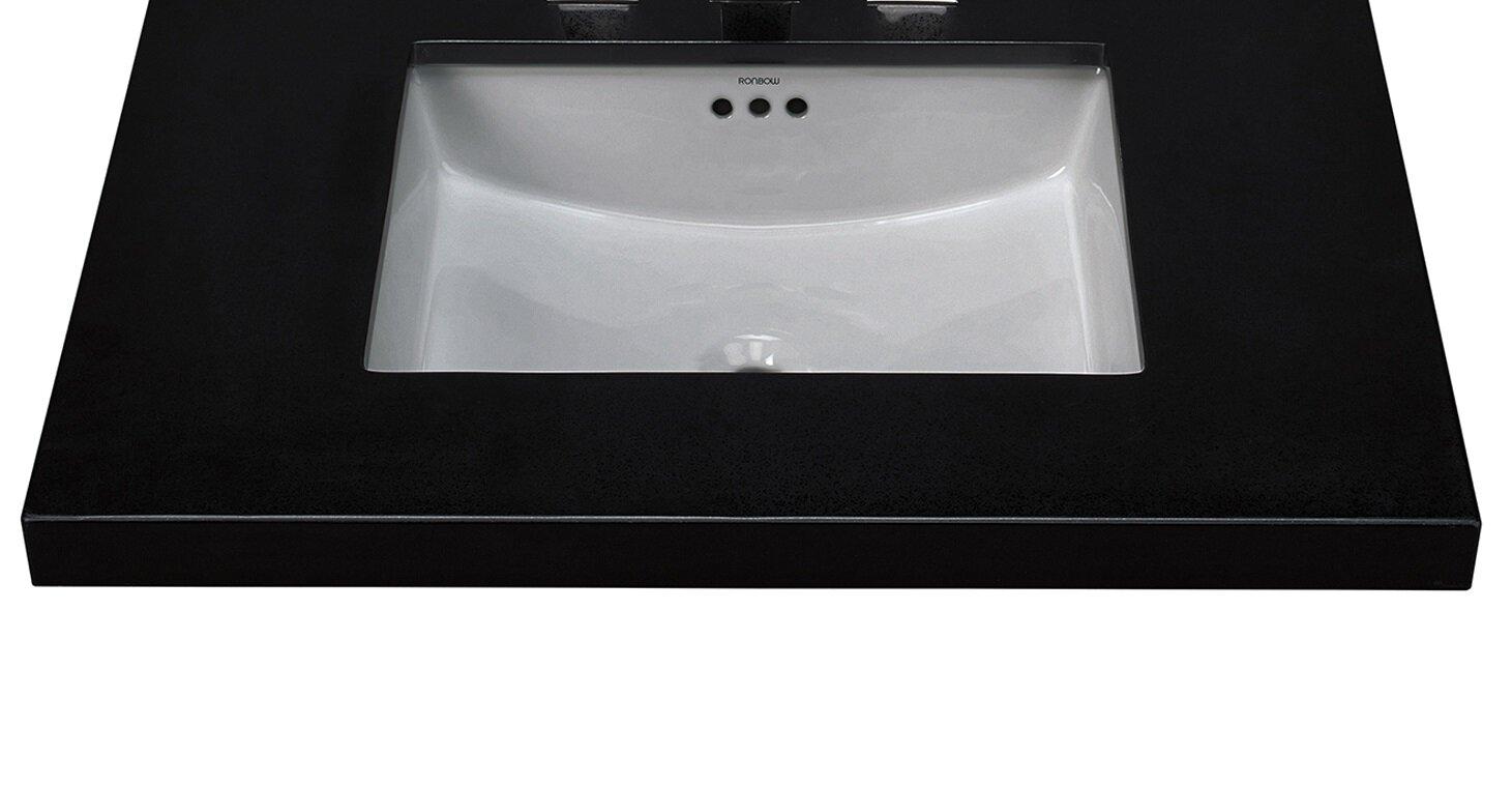 Essence Ceramic Rectangular Undermount Bathroom Sink With Overflow