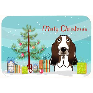 Christmas Tree and Basset Hound Kitchen/Bath Mat