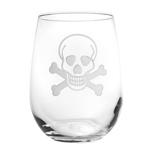 Skull & Cross Bones 17 Oz. Stemless Wine Glass (Set of 4)