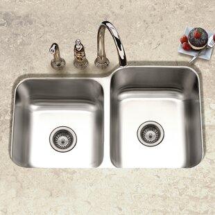 Undermount 60/40 Kitchen Sinks | Wayfair on cast iron undermount double sink, 24 x 16 sink, 70 30 undermount stainless steel sink, hammered copper farmhouse sink, copper bowl sink, 24 bathroom vanity with sink,