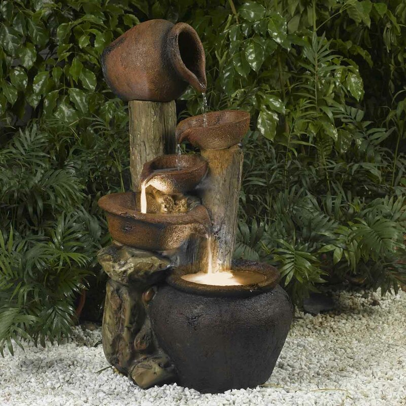 Exceptionnel Resin/Fiberglass Pentole Pot Indoor/Outdoor Fountain With Light