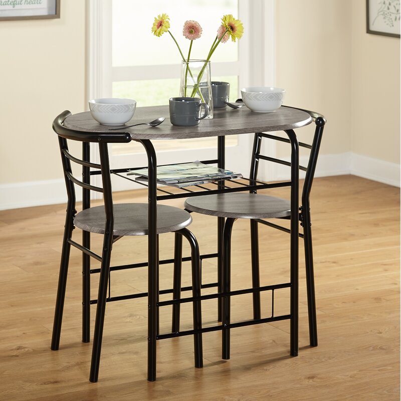 Zipcode Design Volmer 3 Piece Compact Dining Set Reviews Wayfair