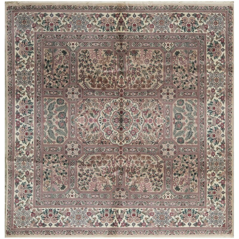 Bokara Rug Co., Inc. One-of-a-Kind Jahan Quality Hand-Knotted Square 8 Wool Pink/Green Area Rug