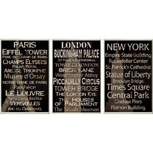 Paris, New York And London 3 Piece Textual Art Wall Plaque Set