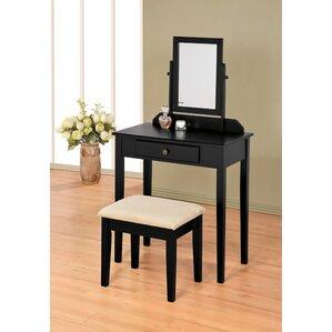 black bedroom vanity. Mooney Vanity Set with Mirror Black Tables You ll Love  Wayfair