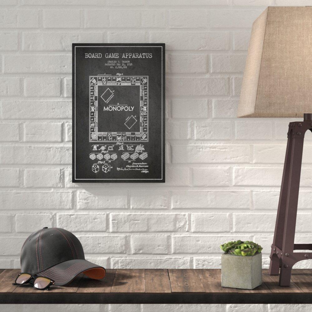 Williston forge monopoly charcoal patent blueprint graphic art on williston forge monopoly charcoal patent blueprint graphic art on wrapped canvas wayfair malvernweather Choice Image