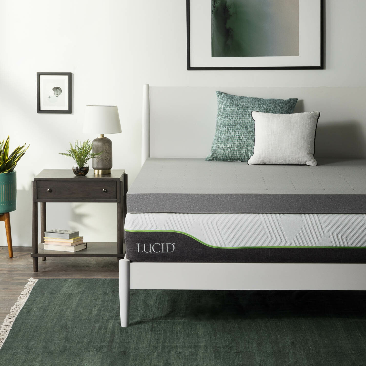 Lucid 4 Bamboo Charcoal Memory Foam Mattress Topper Reviews Wayfair
