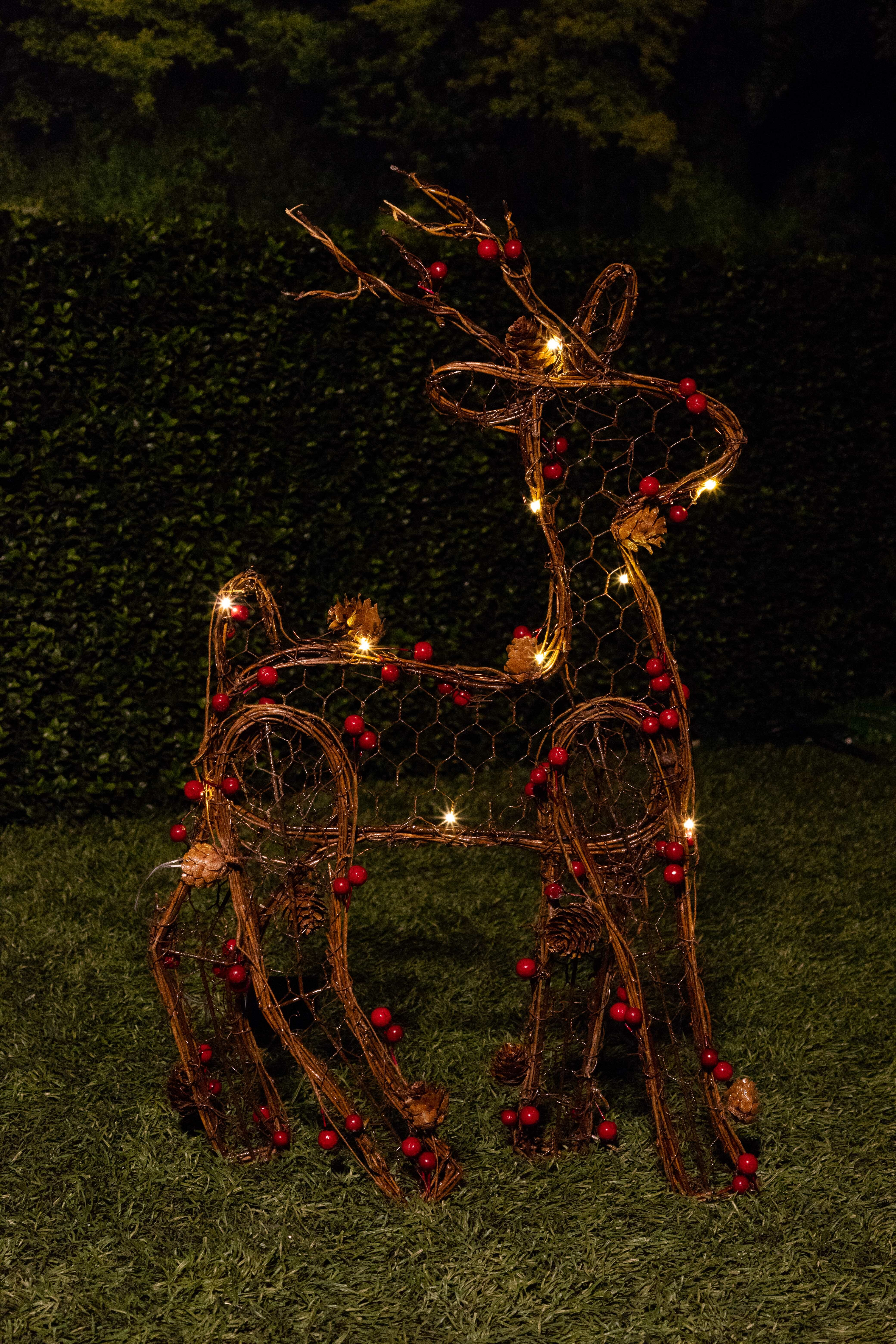alpine christmas rattan light up reindeer lighted display reviews wayfair