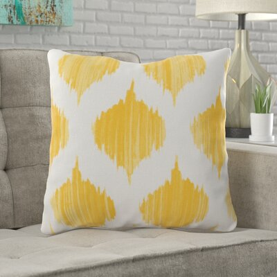 Wrought Studio Watson 100% Cotton Throw Pillow Size: 18 H x 18 W x 4 D, Color: Yellow, Filler: Down