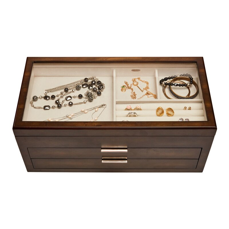 Alcott Hill Glass Top Wooden Jewelry Box Wayfair