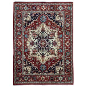 Fortney Serapi Hand-Woven Wool Black/Beige/Red Area Rug