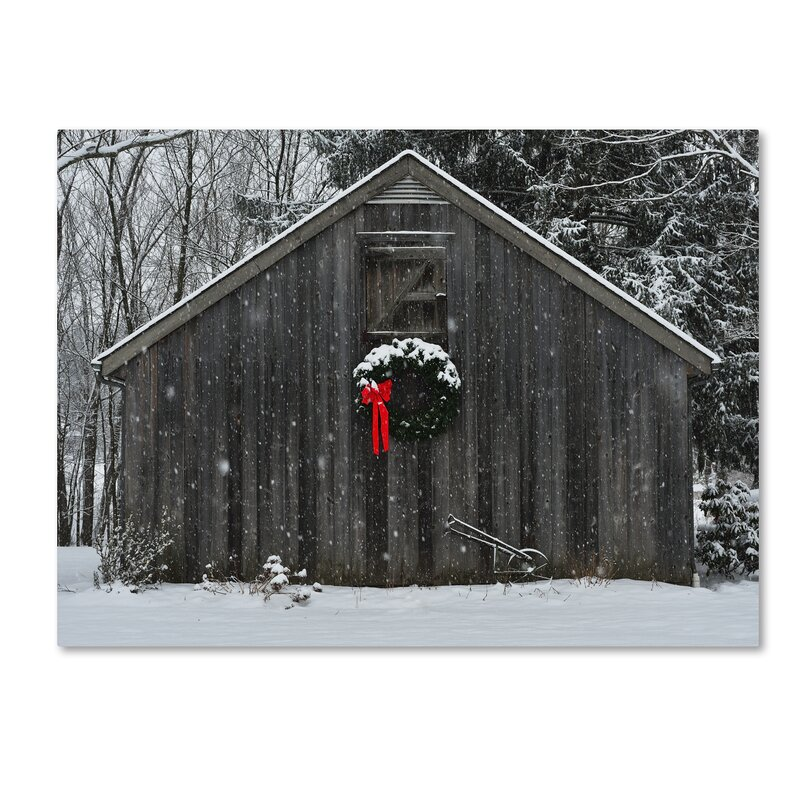 Trademark Art Christmas Barn In The Snow Framed Photo Graphic Print On Canvas Amp Reviews Wayfair