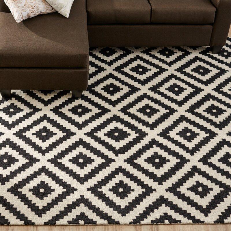 Kelly Black Cream Geometric Wool Hand Tufted Area Rug Reviews