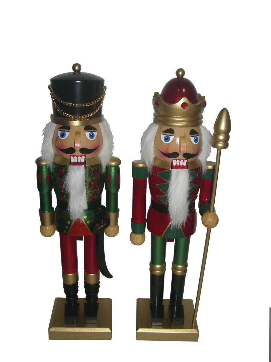 Santa\'s Workshop 2 Piece Metallic Christmas Nutcracker Set | Wayfair