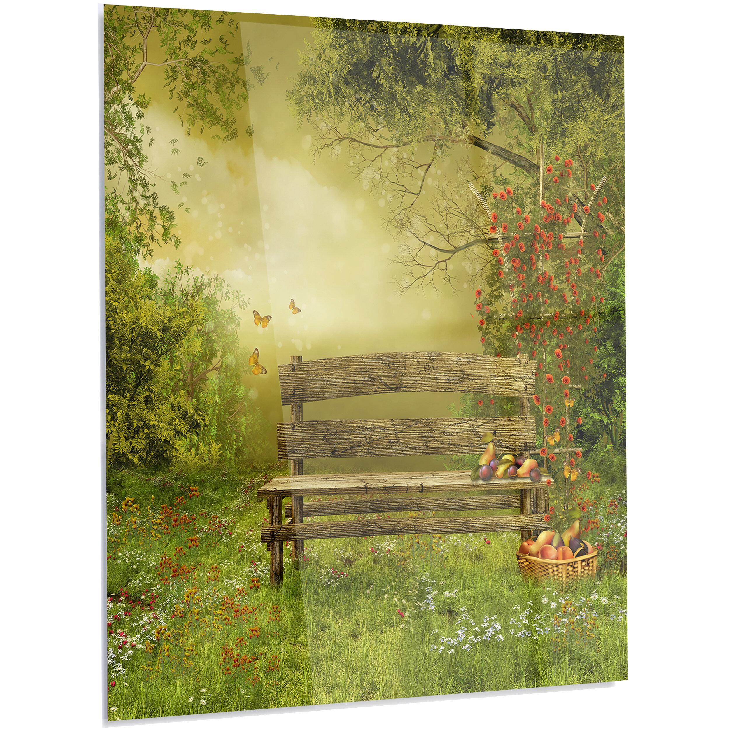 DesignArt \'Wooden Bench in Village Orchard\' Graphic Art on Metal ...