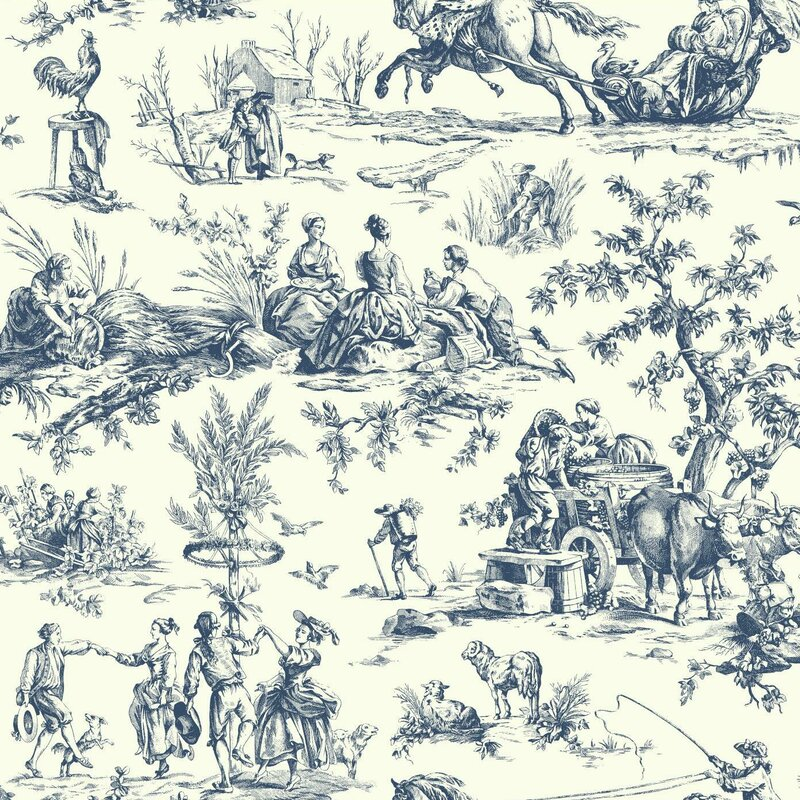 "Ashford Toiles Seasons Toile 27' x 27"" Scenic Roll Wallpaper"