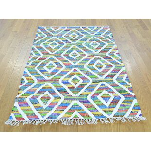 One-of-a-Kind Fritsche Handmade Kilim 3'5 x 5'2 Wool Green/White Area Rug Isabelline